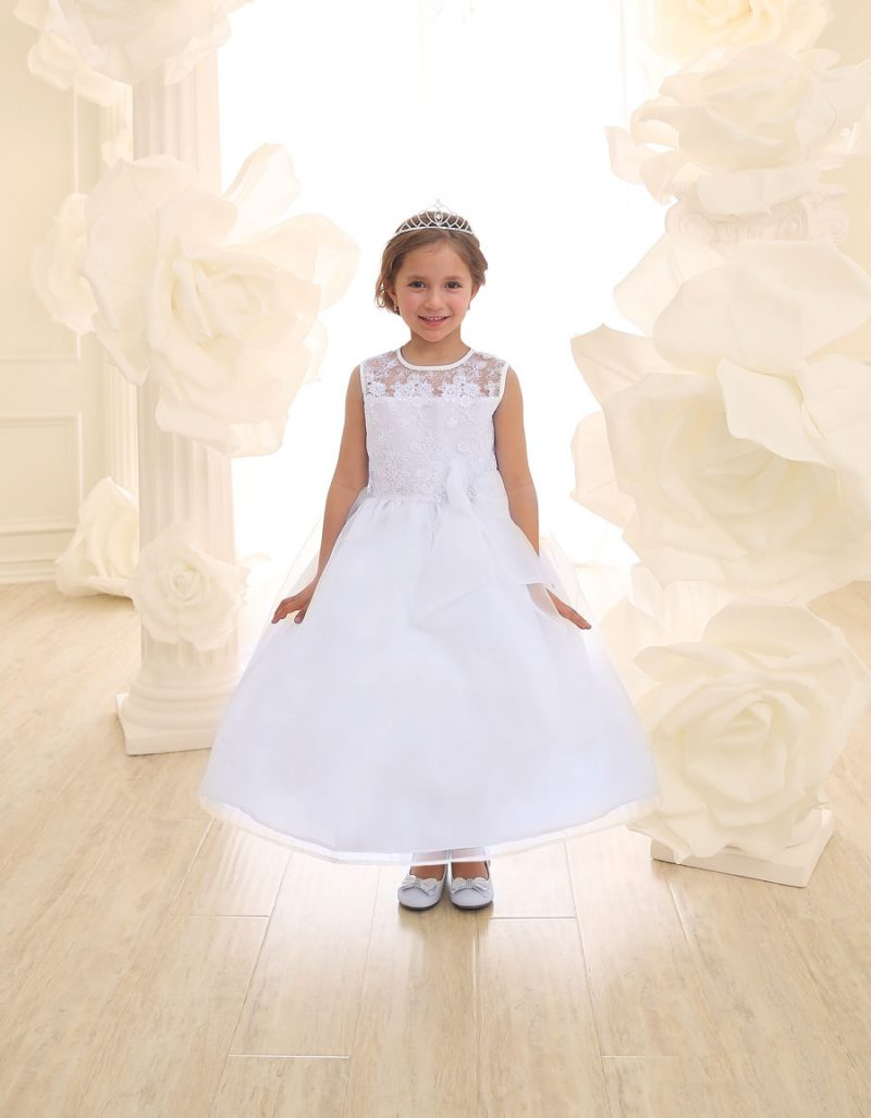 First Communion Dress with Lace Bodice