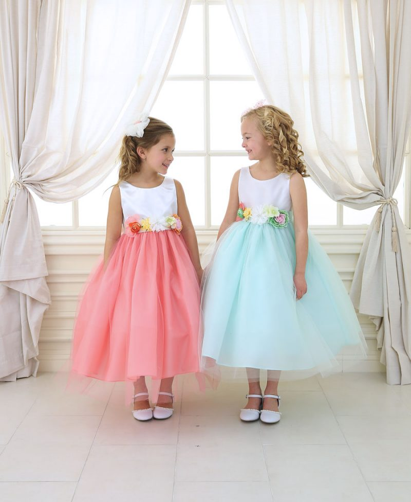 Flower Girl Dress with Multi Color Flower Accents