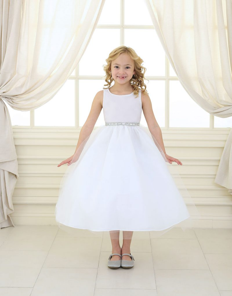 First Communion Dress with Shiny Accent Trim