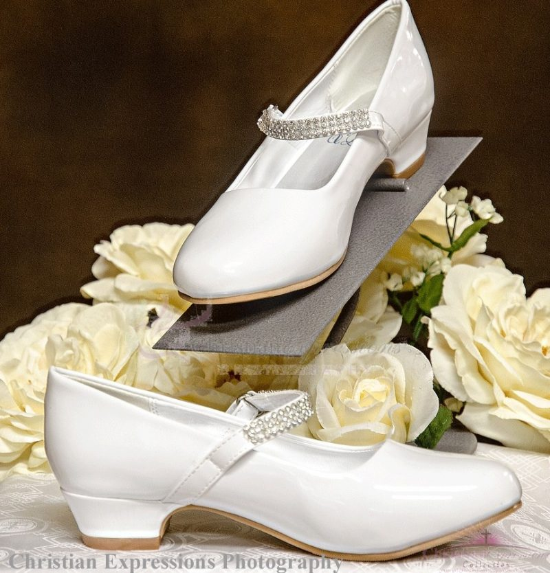 Girls First Communion Shoes Rhinestone Strap