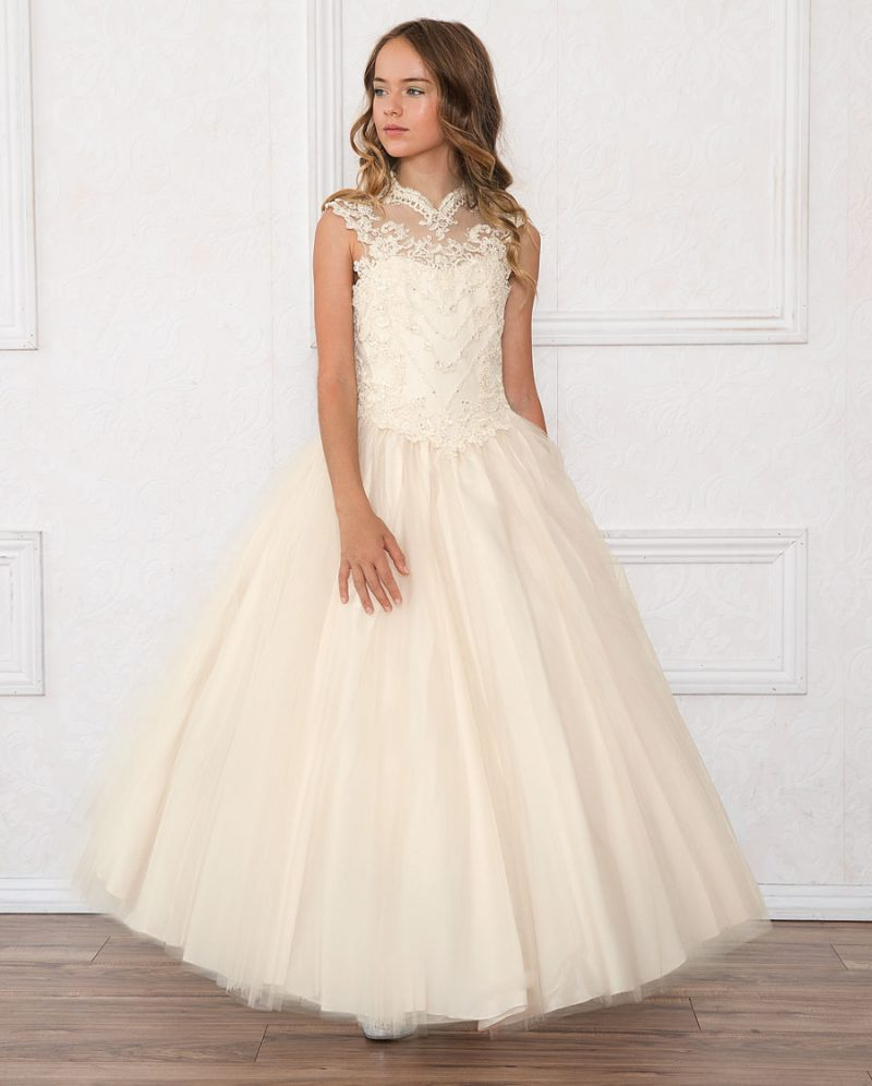 Girls Pageant Dress Tulle with Lace Bodice Scoop Back