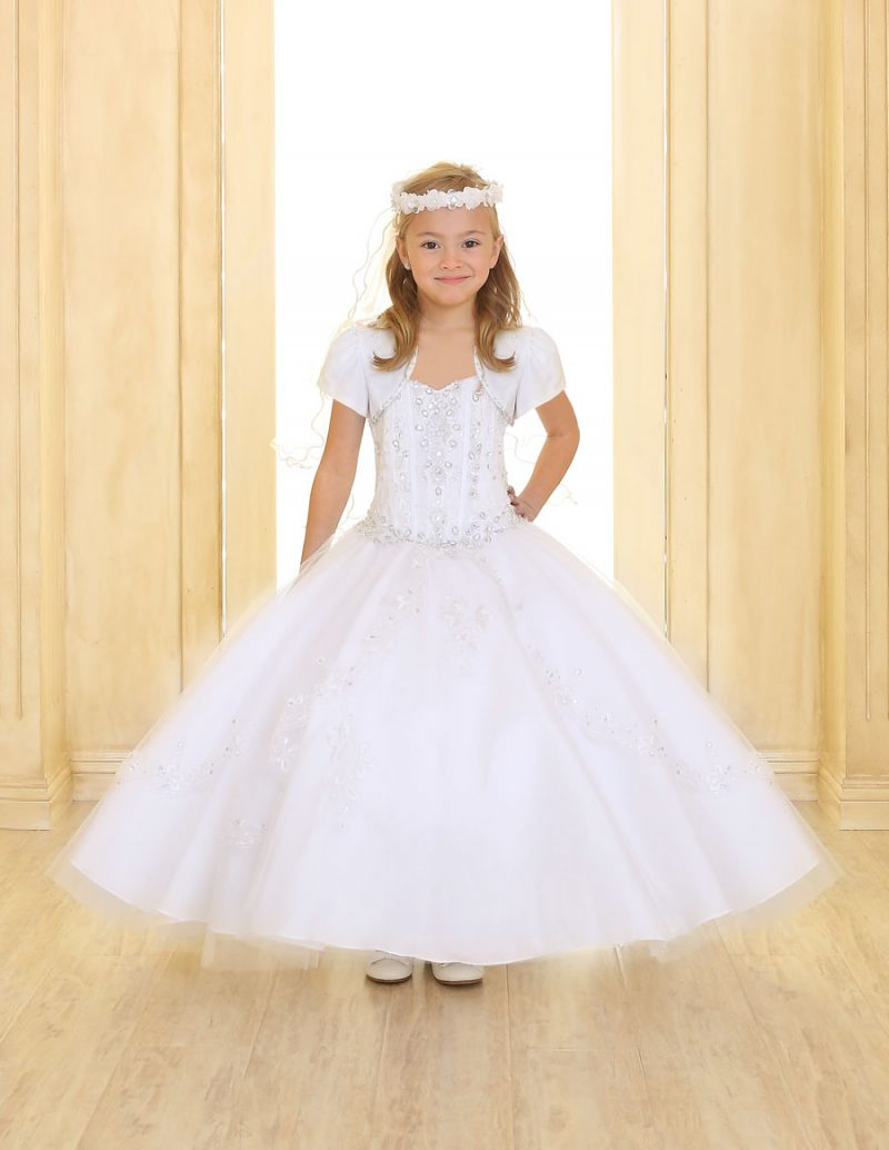 Girls First Communion Dress with Embellished Beading