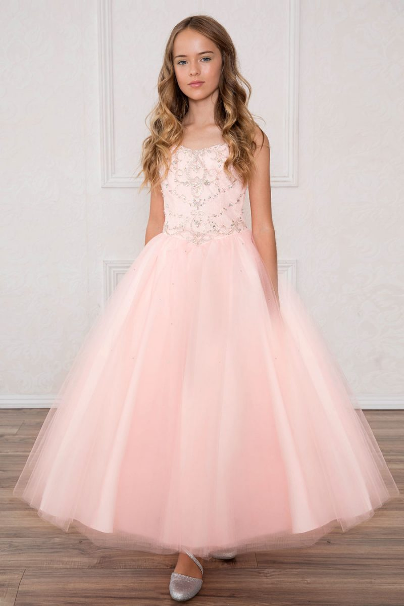 Girls Pageant Gown with Rhinestone Bodice