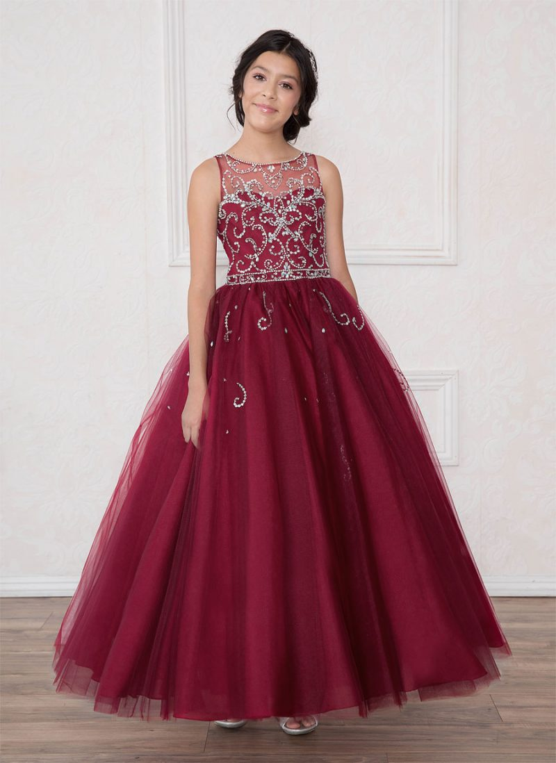 Girls Pageant Gown with Rhinestone Patten Bodice