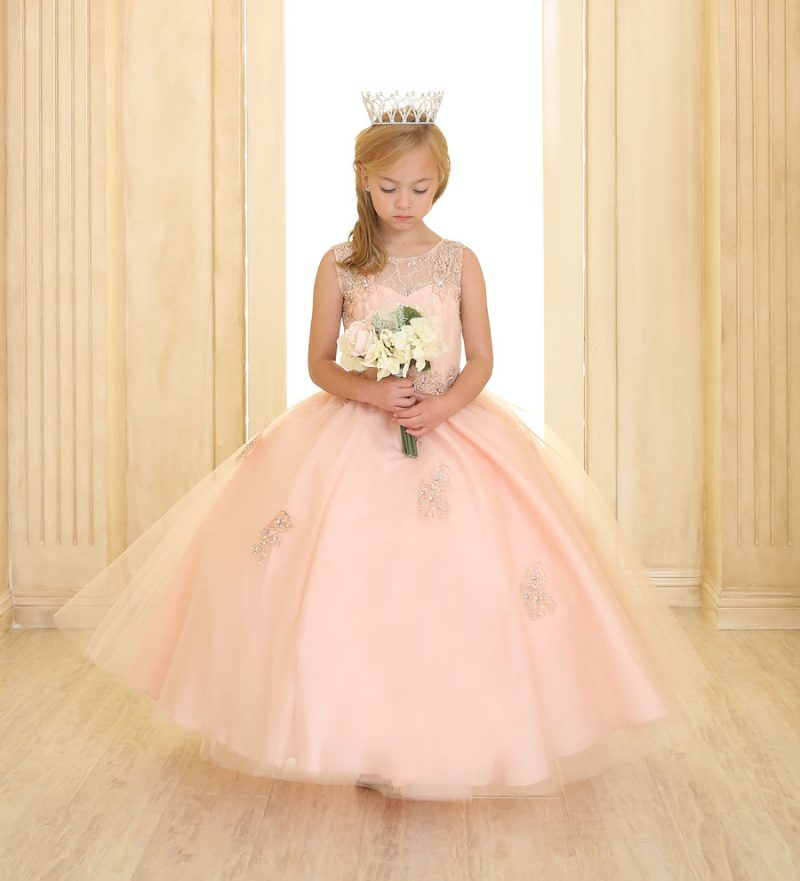 Girls Pageant Gown Tulle with Lace Accents