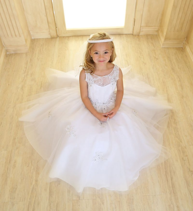 Girls First Communion Gown Tulle with Lace Accents