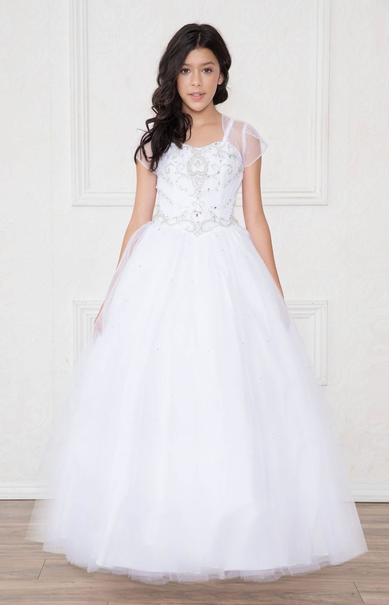 Girls First Communion Gown with Rhinestone Bodice