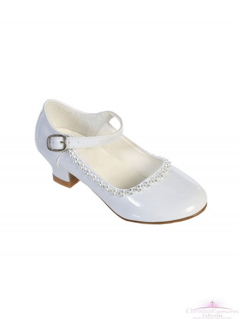 Girls First Communion Shoes Rhinestone Trim