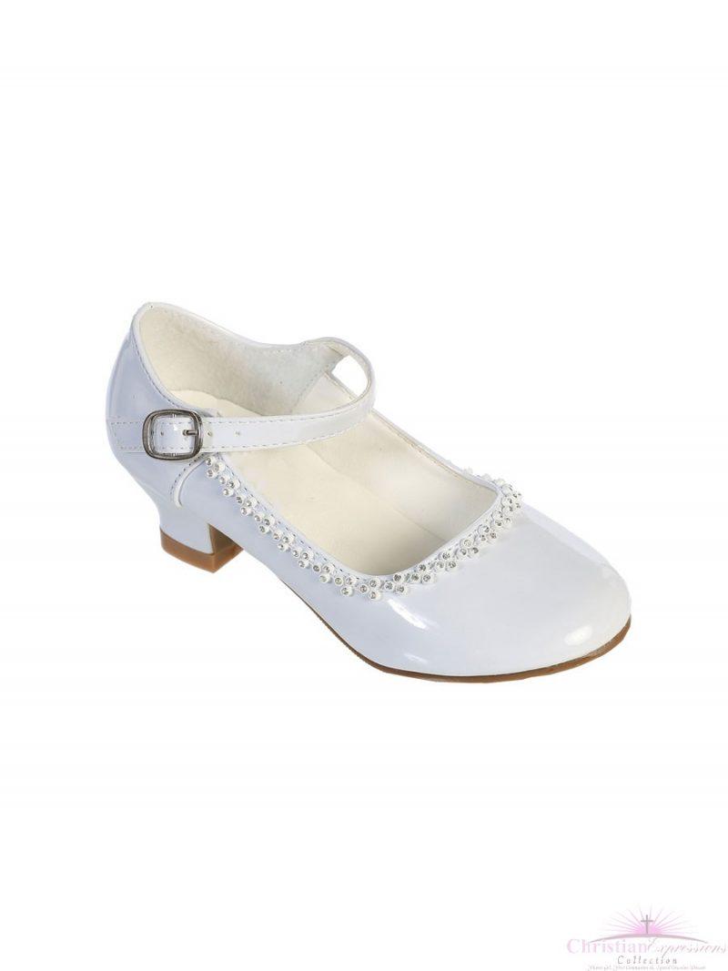 Girls First Communion Shoes Rhinestone Trim