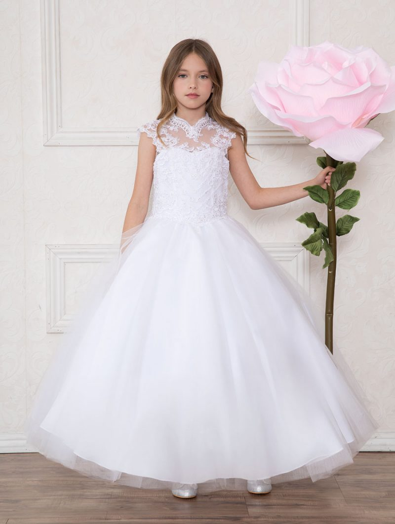Girls First Communion Gown Tulle with Lace Bodice Scoop Back