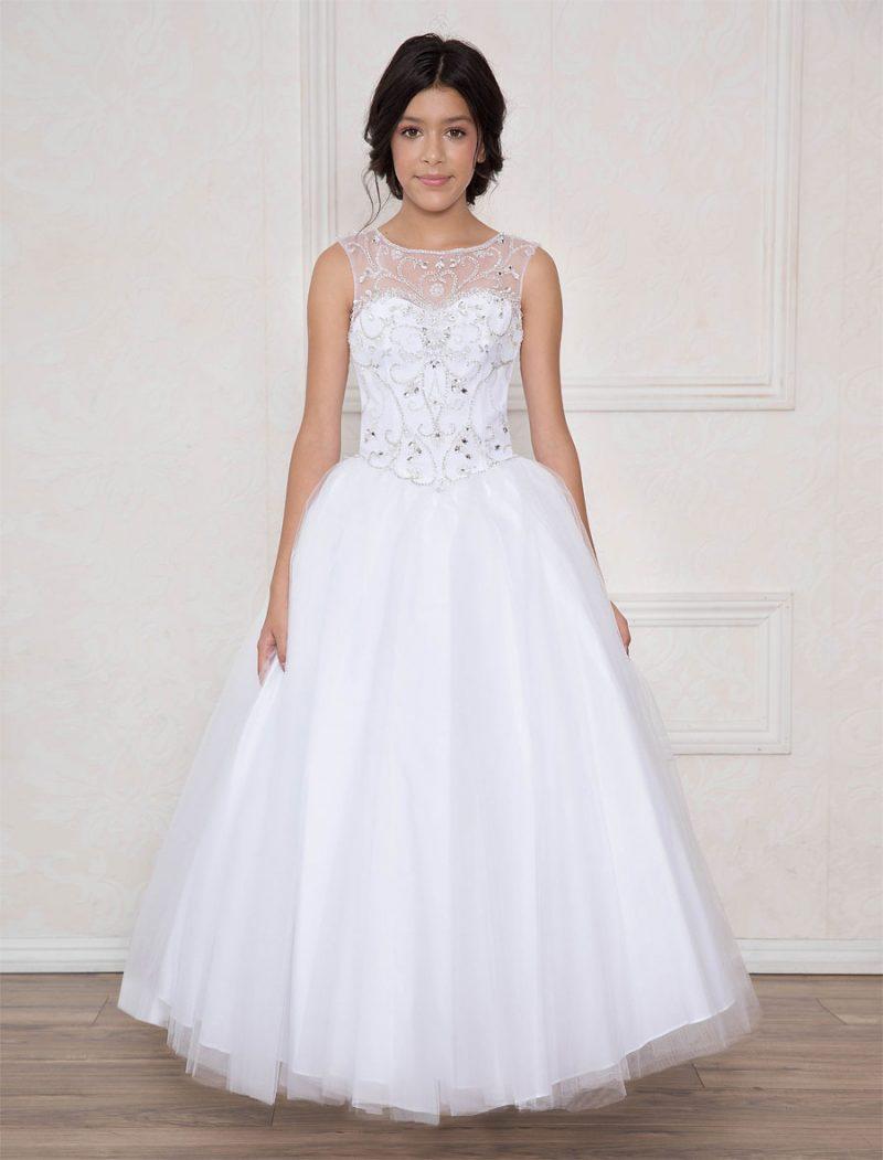 Long Length Girls First Communion Dress with Open Corset Back