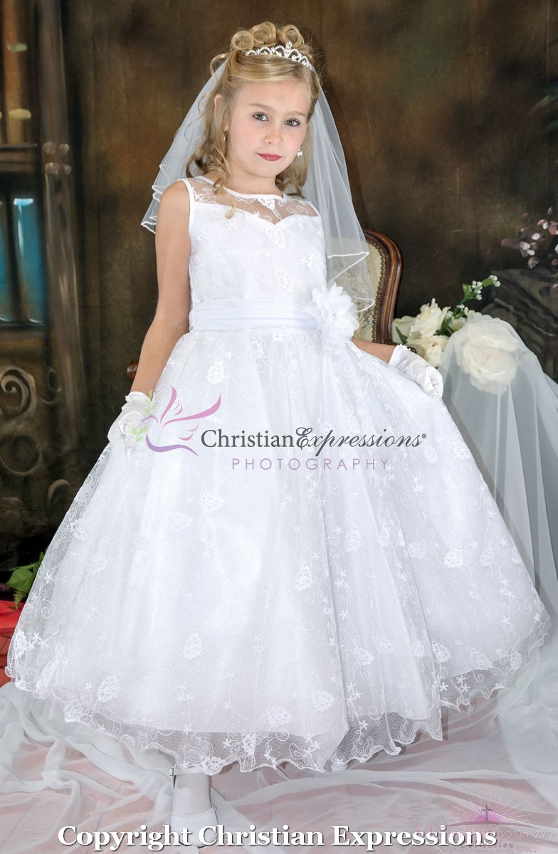 Lace First Communion Dress Organza Neckline