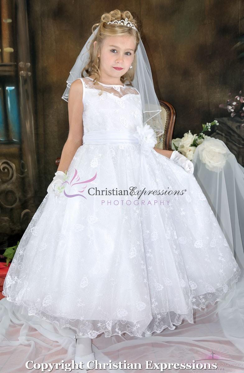 Lace First Communion Dress Organza Neckline