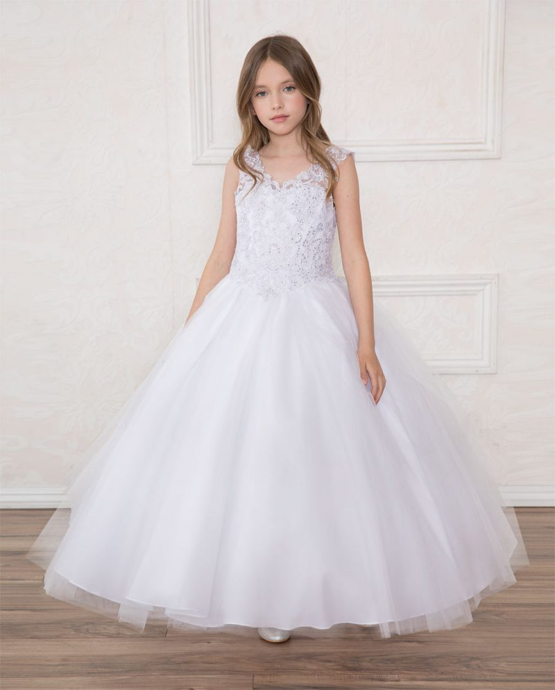 Girls First Communion Gown with Beaded V Neck and Scoop Back