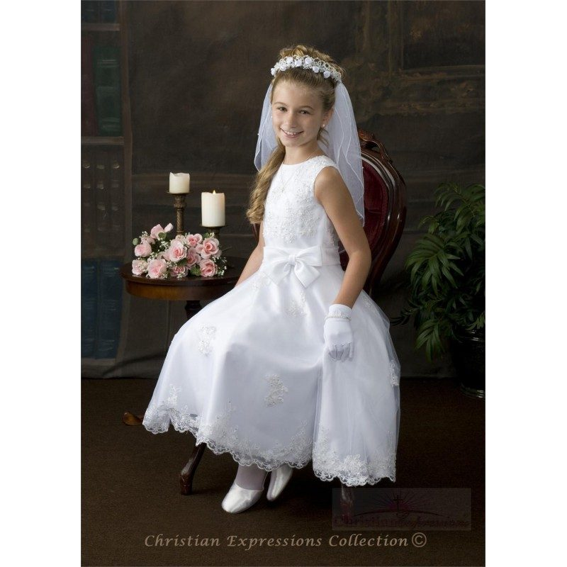 Beaded Organza First Communion Dress with Satin Bow