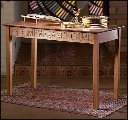 Communion Table This Do In Remembrance of Me Pecan