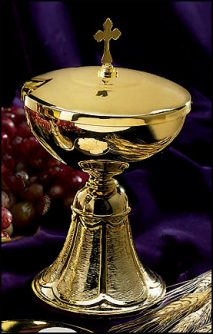 Ciborium with Cross Cover Brushed Base