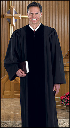 Black Pulpit Robe with Polyester Velvet Panels