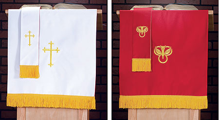 red/white pulpit scarf with fringe