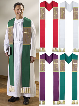Alpha Omega Clergy Overlay Stoles with Tassels Set of 4