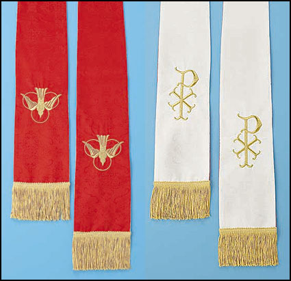 Jacquard Red/White Reversible Stole