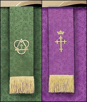 Reversible Bookmark with Cross: Purple/Green Parament