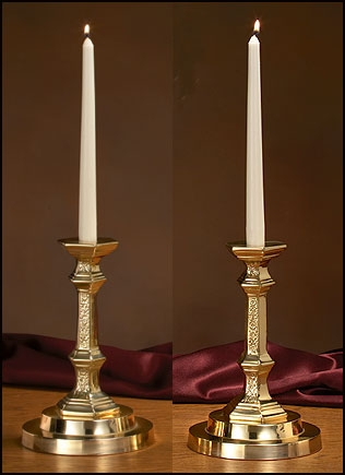 Church Altar Candlesticks with Filigree Design Pair