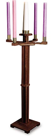 Church Advent Candle holder Walnut