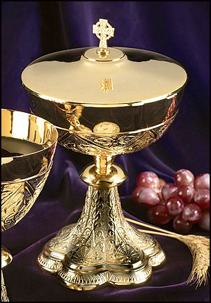 Embossed Vines Ciborium with Celtic Cross Cover