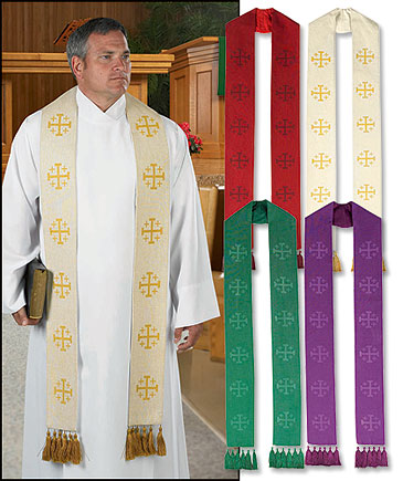 Jerusalem Cross Clergy Overlay Clergy Stole