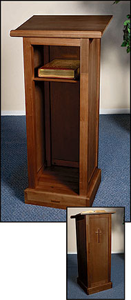 Full Church Lectern with Shelf Maple Finish