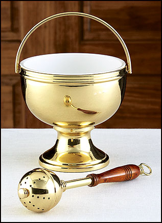 Gold Holy Water Pot with Sprinkler Set