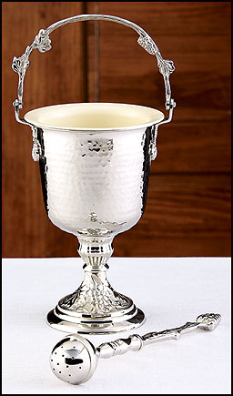 Silver Hammered Holy Water Pot with Sprinkler Set