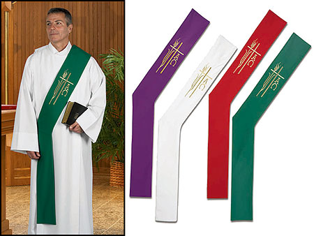Alpha Omega Deacon Stoles with Tassels Set of 4