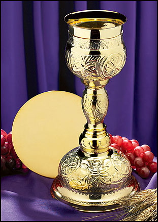Brass Orthodox Chalice with Paten