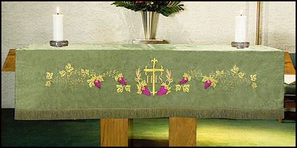 Embroidered Jacquard Altar Frontal w/Cross & Vine Design Parament