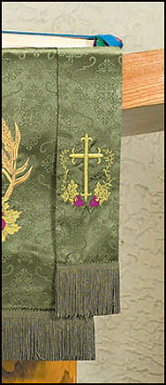 Embroidered Jacquard Bookmark w/Cross & Vine Design