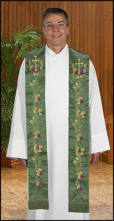 Embroidered Jacquard Preaching Stole w/Cross & Vine Design