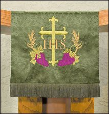 Embroidered Jacquard Pulpit Scarf w/Cross & Vine Design