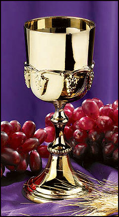 Gold Communion Cup with Grapes