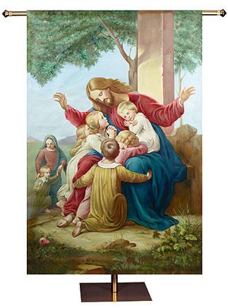 Christ with The Children Church Banner