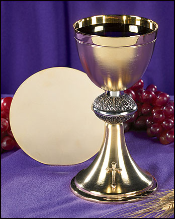 Budded Cross Chalice and Paten Set
