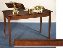 Communion Table This Do In Remembrance of Me Solid Maple Silk Screened