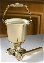 Embossed Holy Water Pot with Sprinkler Set