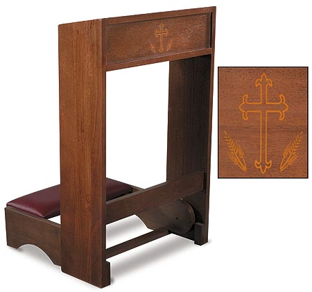 padded church kneeler with silk screened cross