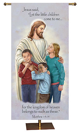 Jesus with The Children Church Banner