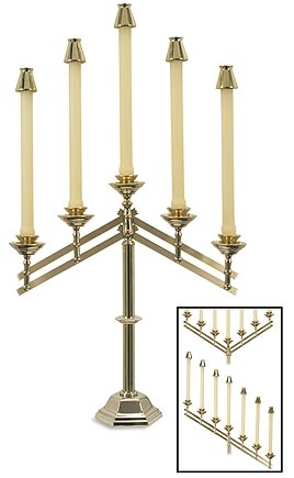 5 Branch Adjustable Altar Candelabra