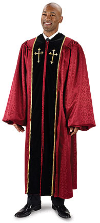Burgundy Brocade Pulpit Robe with Embroidered Gold Crosses