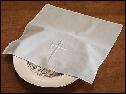 Embroidered Cross Bread Plate Linen Napkin