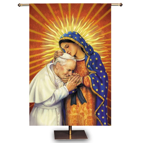 St. John Paul II and Our Lady of Guadalupe Church Banner